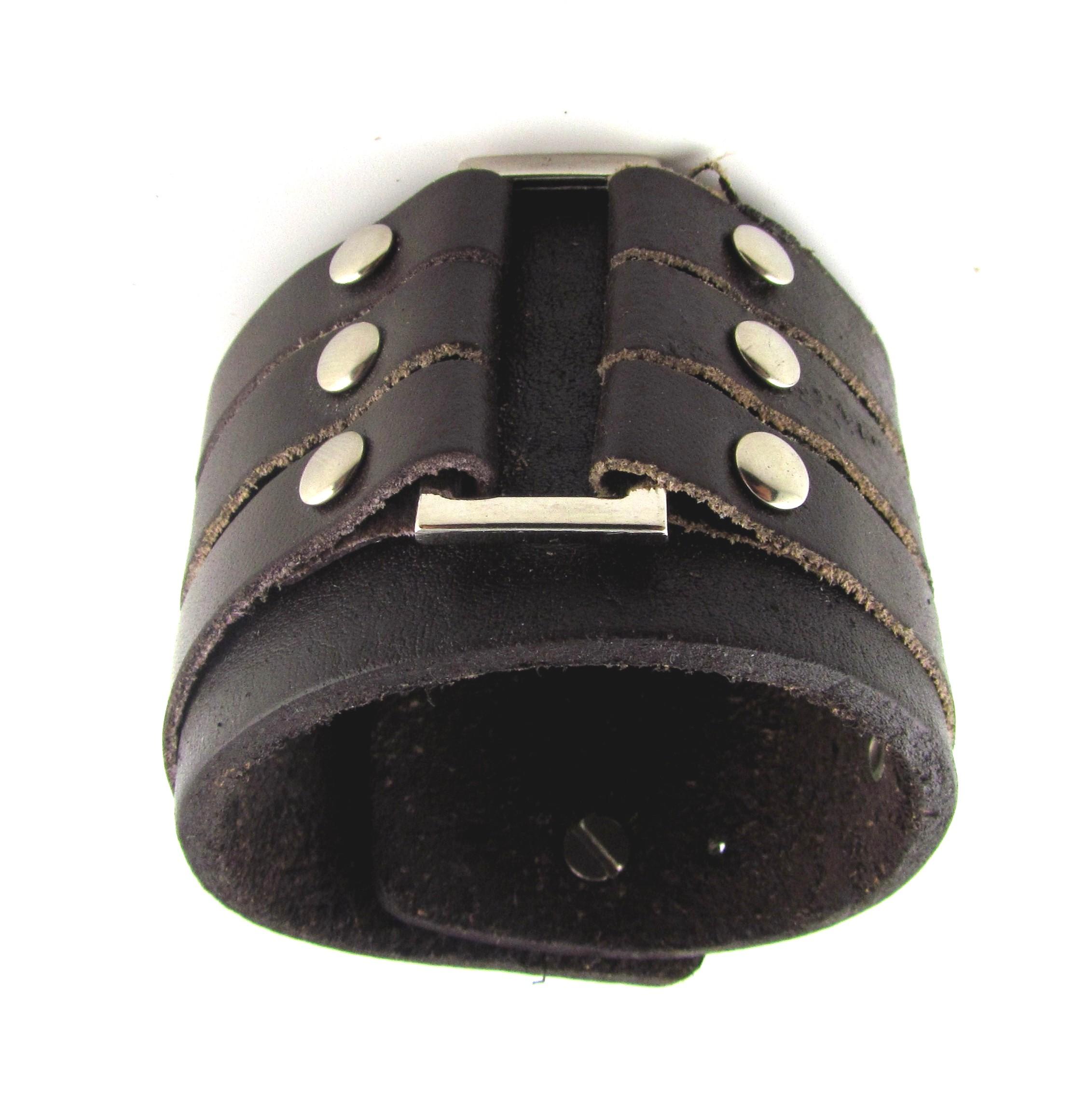 Lederarmband breit  Kauf-4You - CELRIC Herren Lederarmband Breit in Braun Cothic Style 01